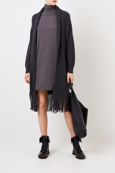 Brunello Cucinelli Cashmere-silk knit dress Grey