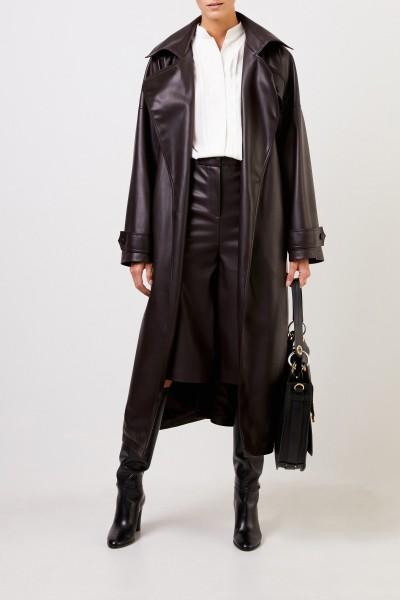 Ochi Kunstleder-Trenchcoat mit Gürtel Dunkelbraun