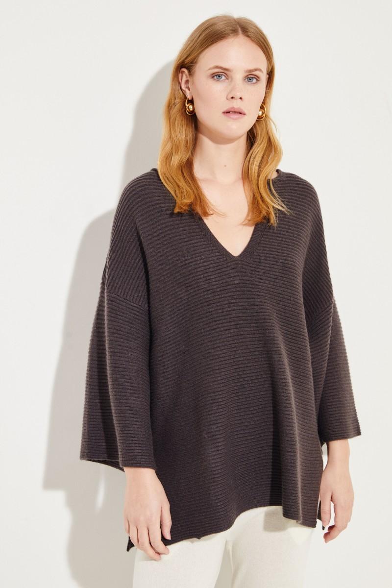 Oversize Woll-Cashmere-Pullover Braun