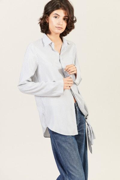 Gestreifte Seiden-Bluse mit Knotendetail Blau/Weiß