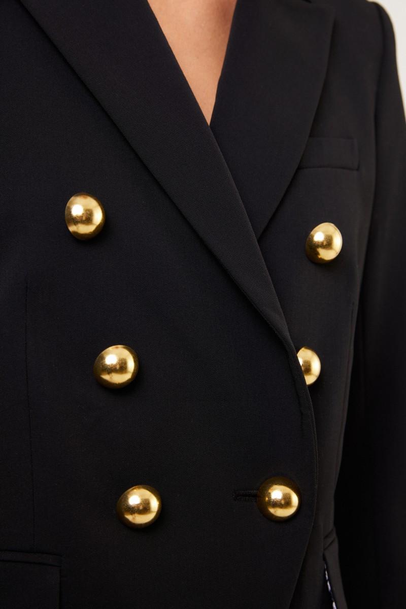 Veronica Beard Blazer 'Miller Dickey' mit goldfarbenen Knöpfen Schwarz