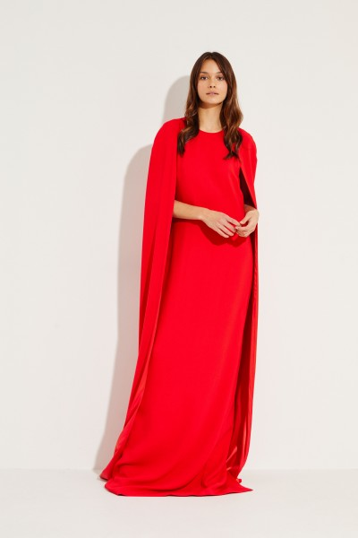 Langes Abendkleid mit Cape-Detail Rot