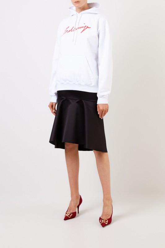 Balenciaga Oversize Hoodie mit Logo Weiß/Rot