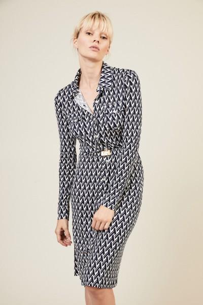 Gemustertes Blusenkleid 'Crista' Blau/Weiß