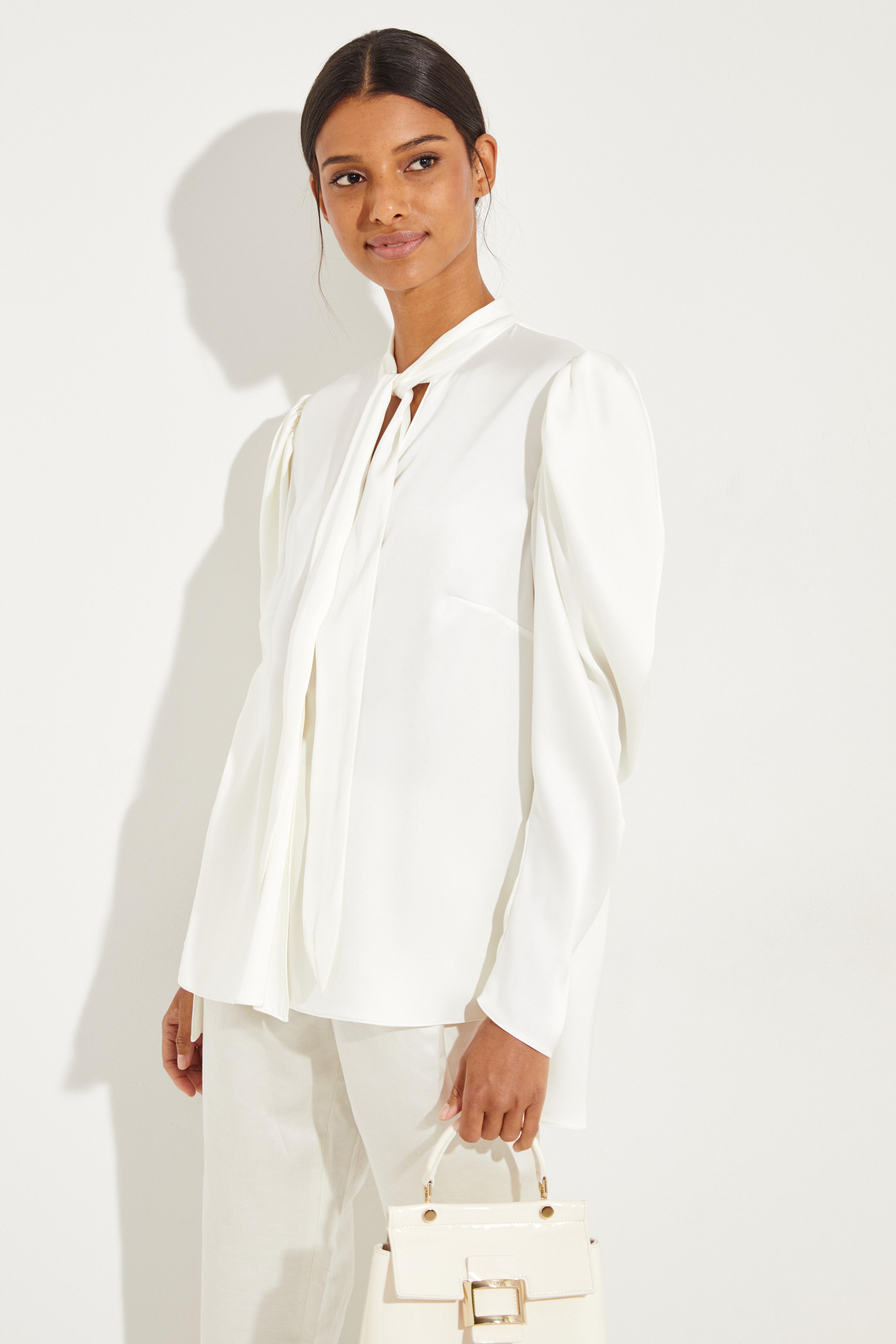 9b794aad1a5d Silk tie-neck blouse  Salzburg  White