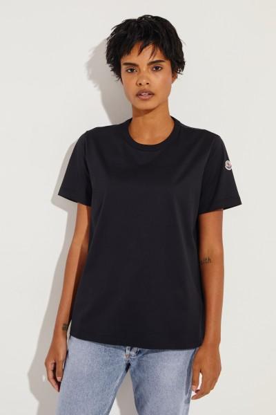 T-Shirt mit Logo Patch Schwarz