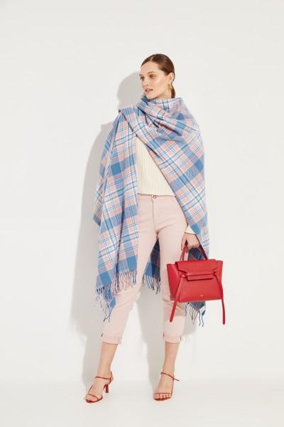 Karierter Woll-Poncho 'Cassiar' Rosé/Blau