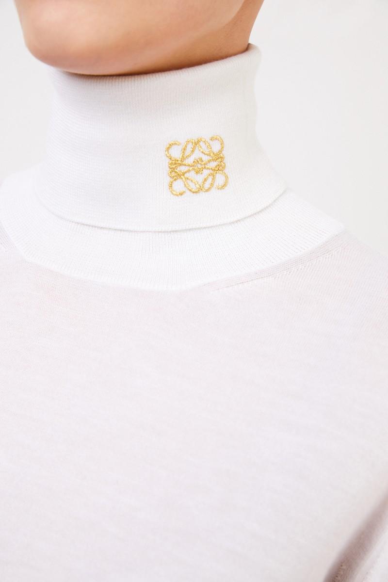 Loewe Cashmere-Rollkragenpullover mit Logo Écru/Gold