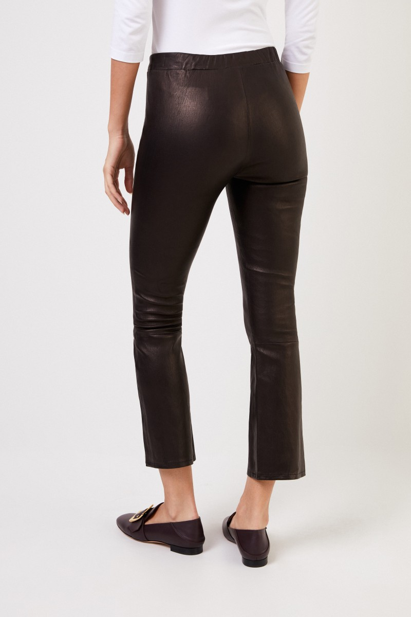 J Brand Leather trousers with elastic waistband Black