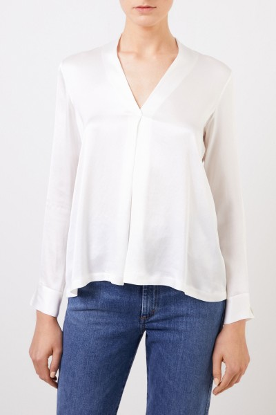 Her Shirt Silk blouse 'Bailey' with v-neck Cream