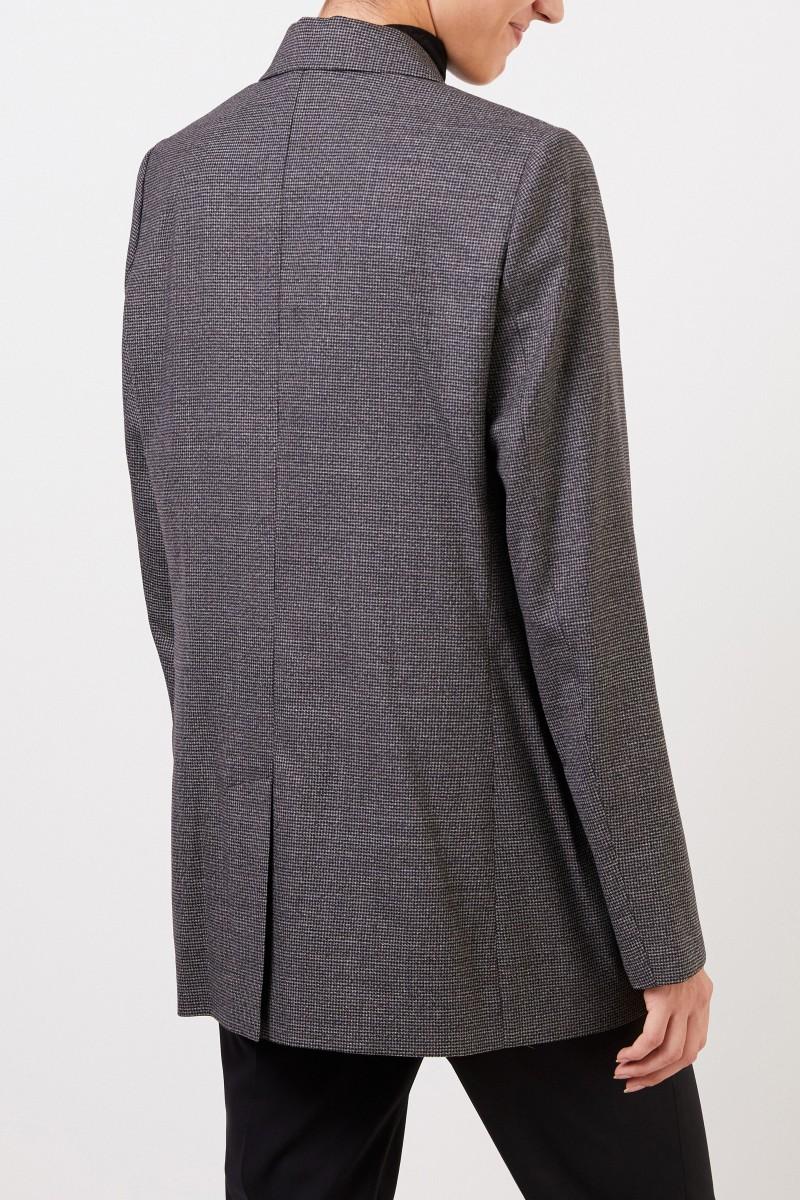 Brunello Cucinelli Karierter Woll-Blazer mit Perlenverzierung Schwarz/Grau