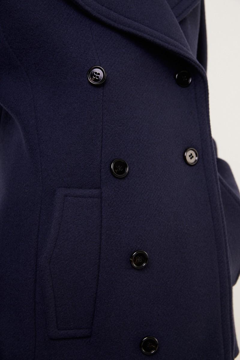 Chloé Zweireihiger Woll-Mantel Abyss Blue