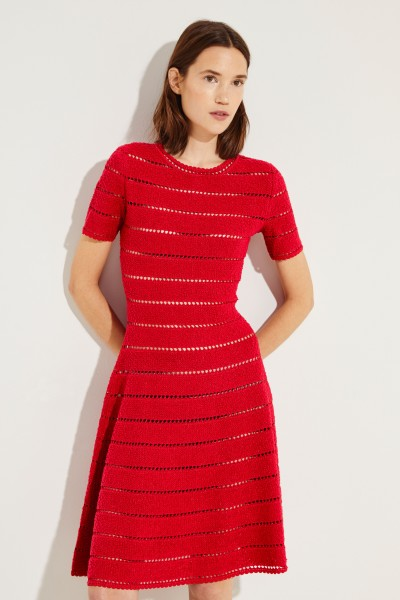Short knitted dress with lurex threads Red