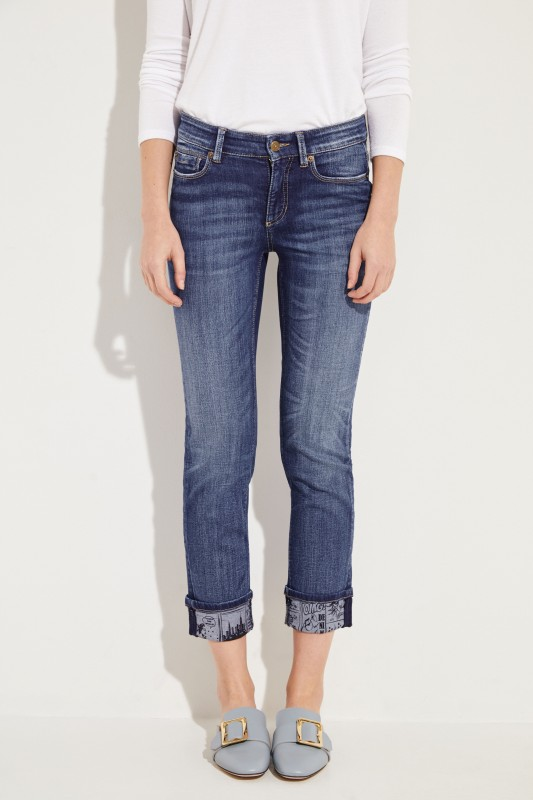 Skinny-Jeans 'Pina' mit Print Blau