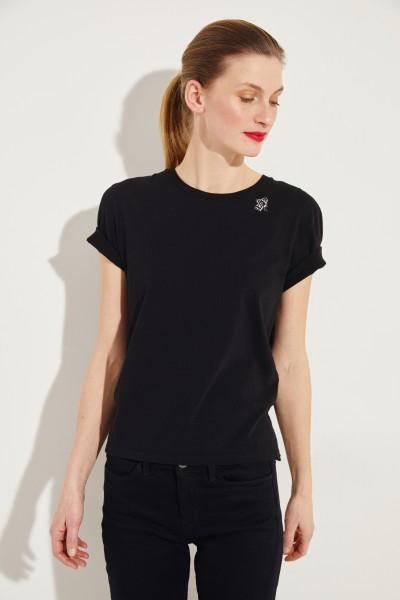 T-Shirt mit frontalem Logo-Detail Schwarz