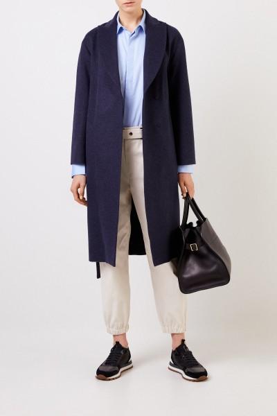 Long wool-cashmere coat Navy Blue