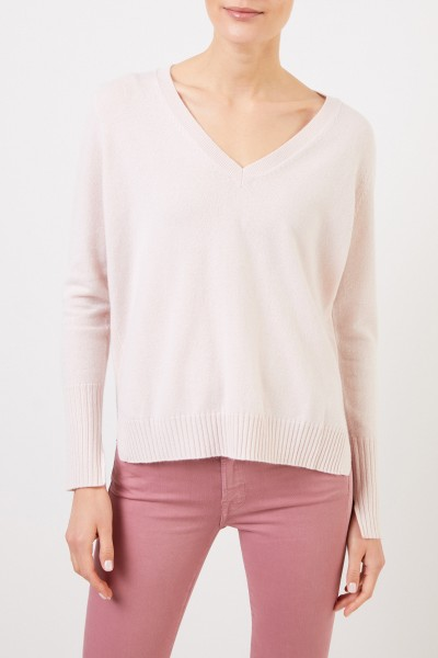 Allude V-neck Cashmere pullover with slits Light Pink