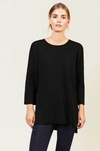 Pullover mit Saumumschlägen Schwarz