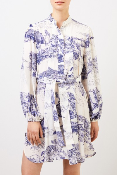 Chloé Silk dress with print white/blue