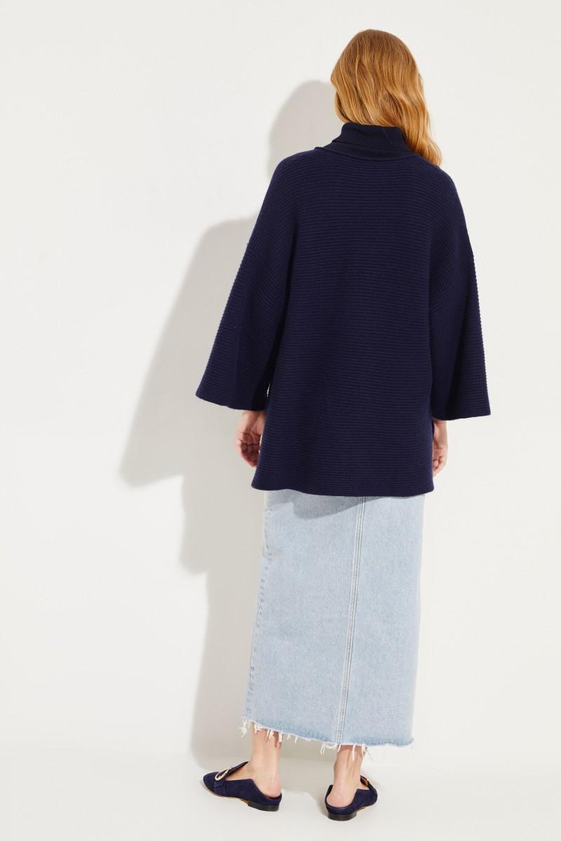 Oversize Woll-Cashmere-Pullover Marineblau