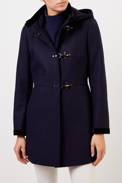Fay Wool coat with velvet details Navy Blue