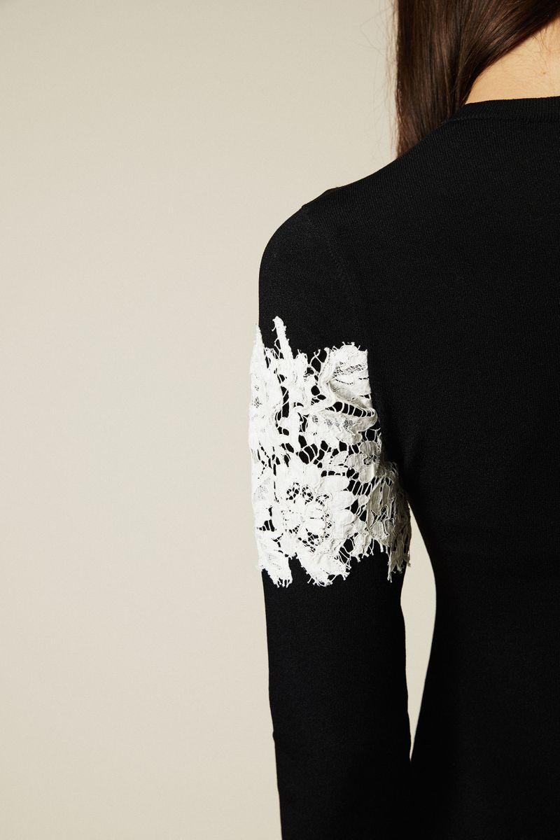 Strickkleid mit Lace-Detail Schwarz