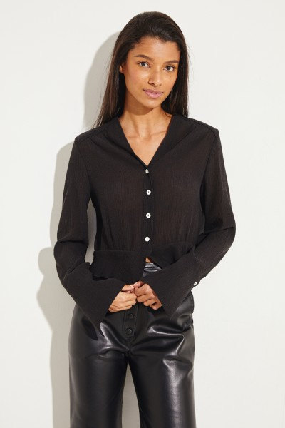 Cropped Bluse 'Cocco' Schwarz