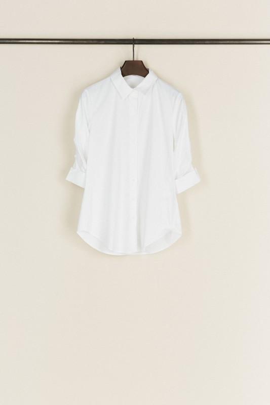 Bluse mit Raffungen Weiß