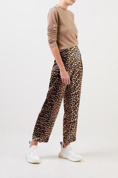 Ganni Klassische Seiden-Hose mit Print Leopard
