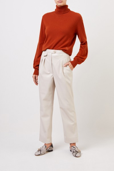 Nanushka Leatherette trousers 'Mitsu' Beige