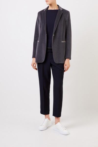 Cashmere Pullover mit Lurex-Detail Marineblau