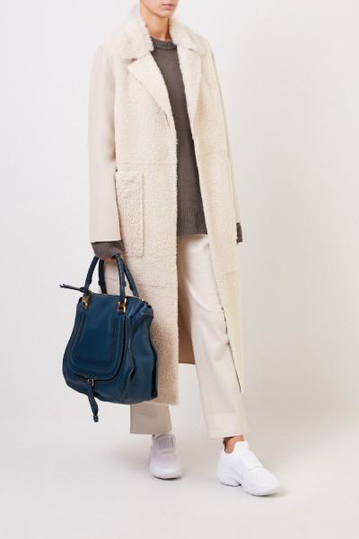 Yves Salomon Cashmere lambskin coat with belt Cream