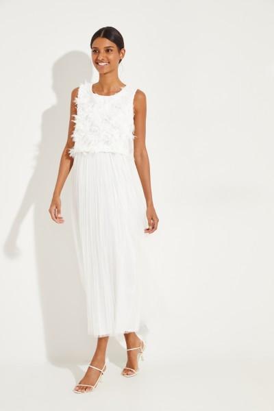 Langes Kleid mit Feder-Details Weiß