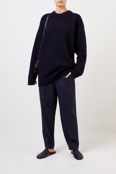 Woll-Hose 'Rondi' mit Saumumschlag Marineblau