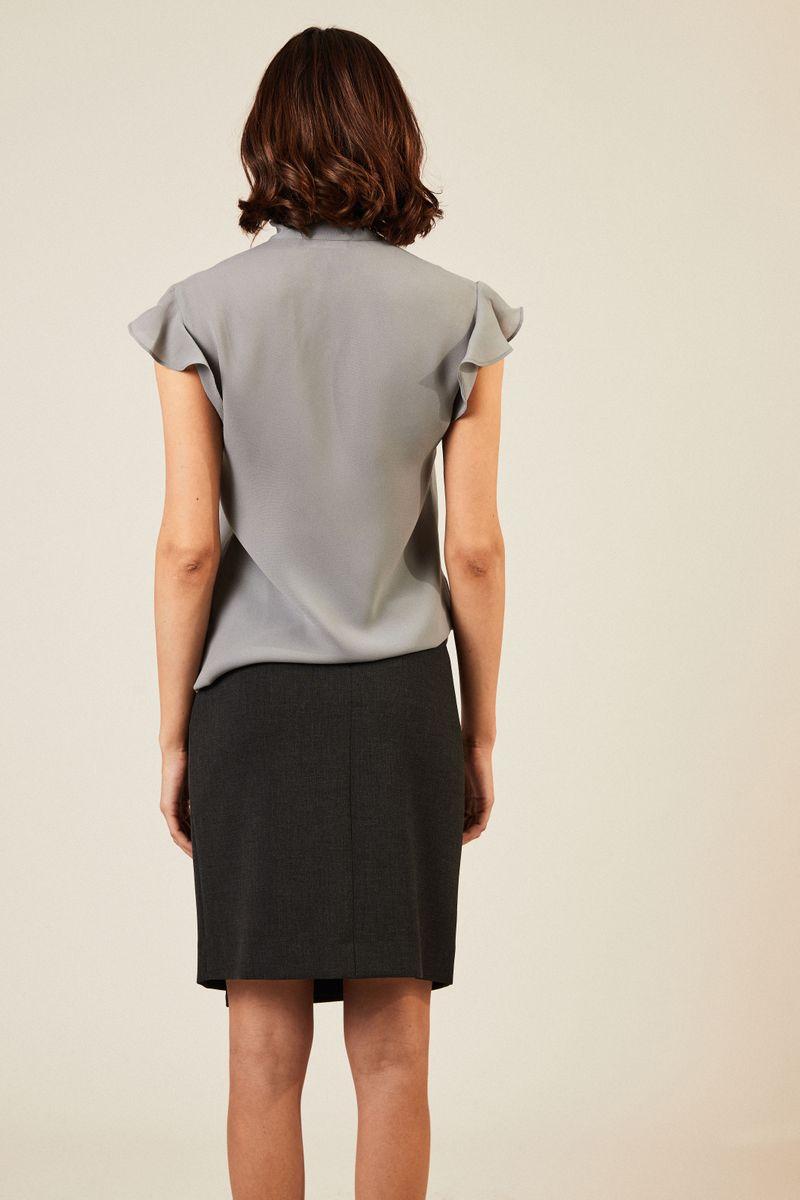 Bluse mit Binde-Detail Grau