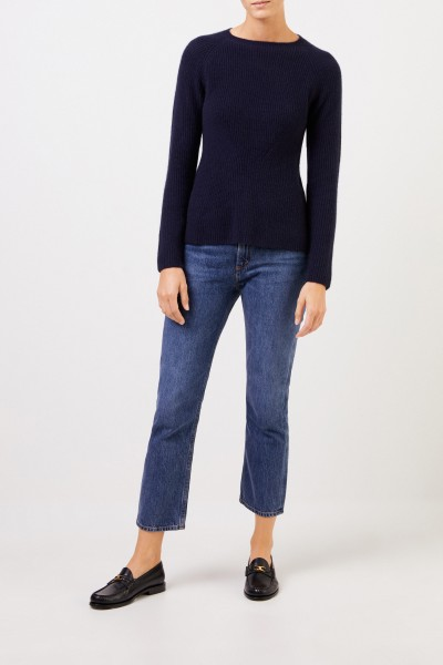 Cashmere pullover with knit detail Navy