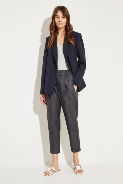 Brunello Cucinelli Wool pants with pearl adornment on the side Grey