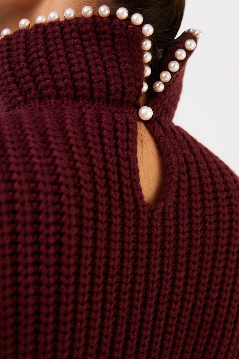 Loewe Cashmere-Pullover mit Perlenverzierung Bordeaux
