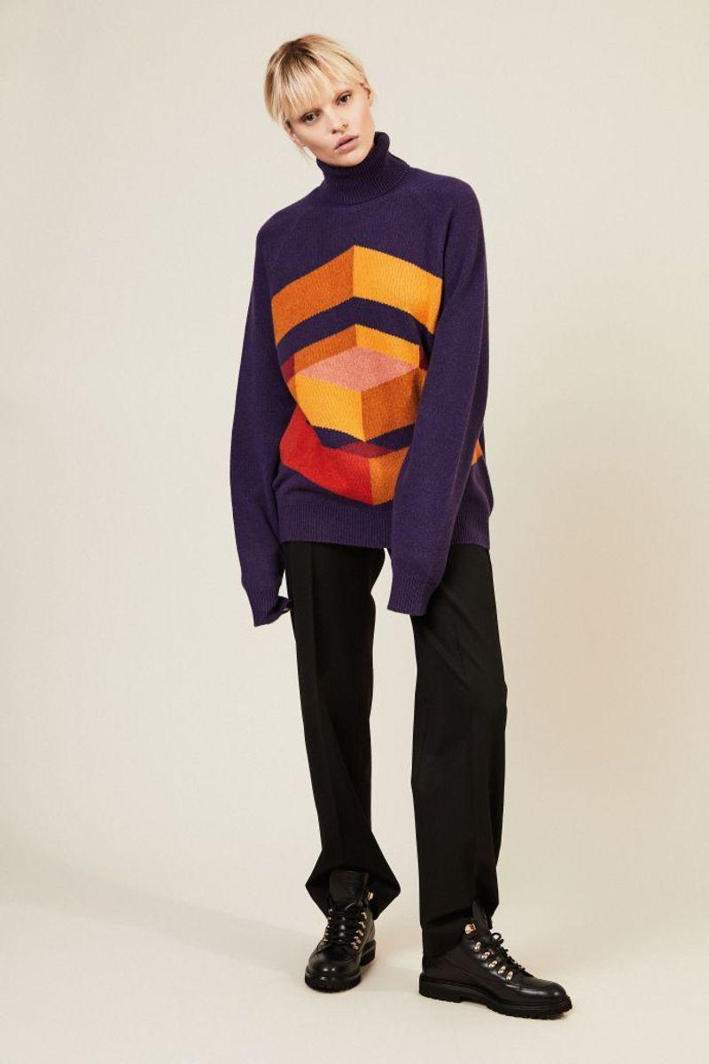 Cashmere-Rollkragenpullover Violett/Multi