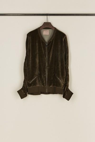Sweatshirt mit Raffung-Details 'Vallia' Khaki