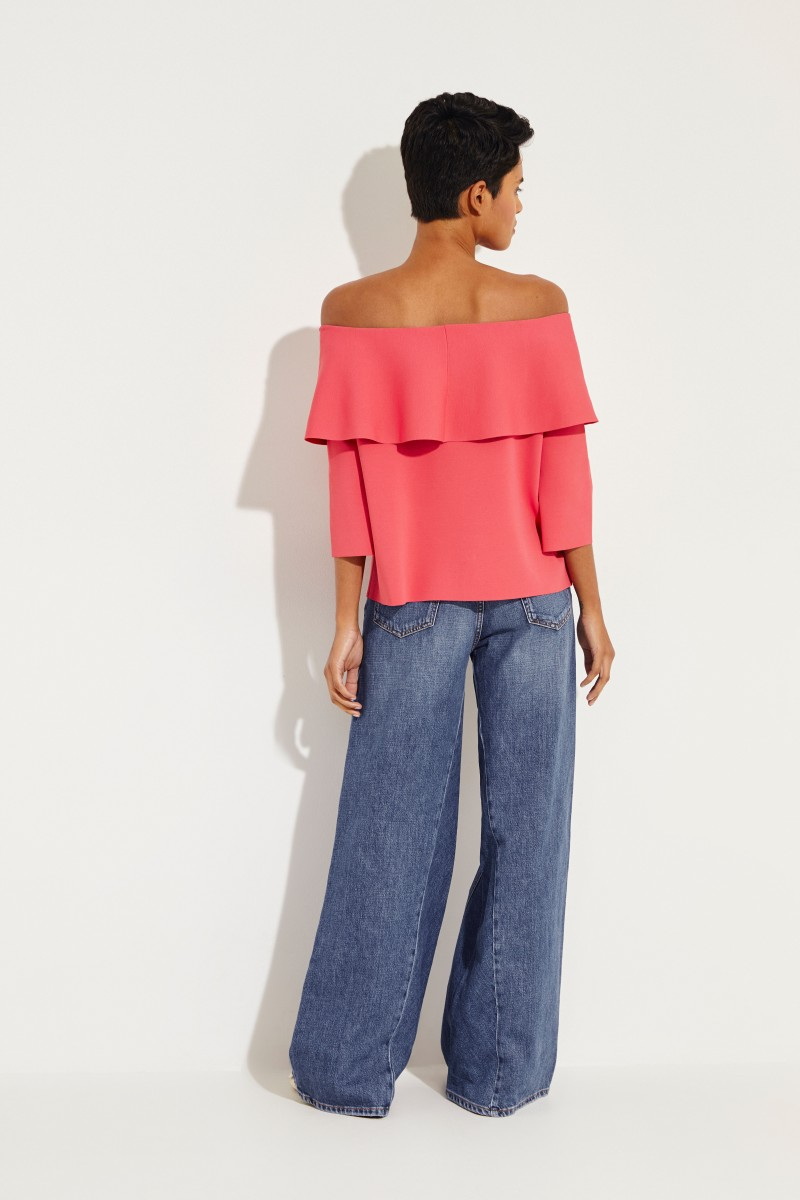 Stella McCartney Off-Shoulder Bluse mit Volant Pink