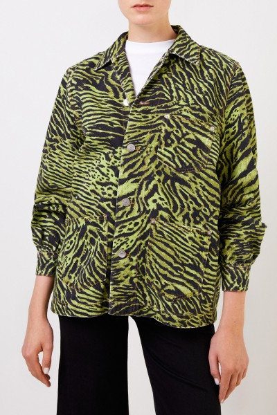 Ganni Jeans jacket with tiger print Green/Black