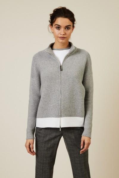 Woll-Seiden-Cardigan mit Reißverschlussdetails Grau/Weiß