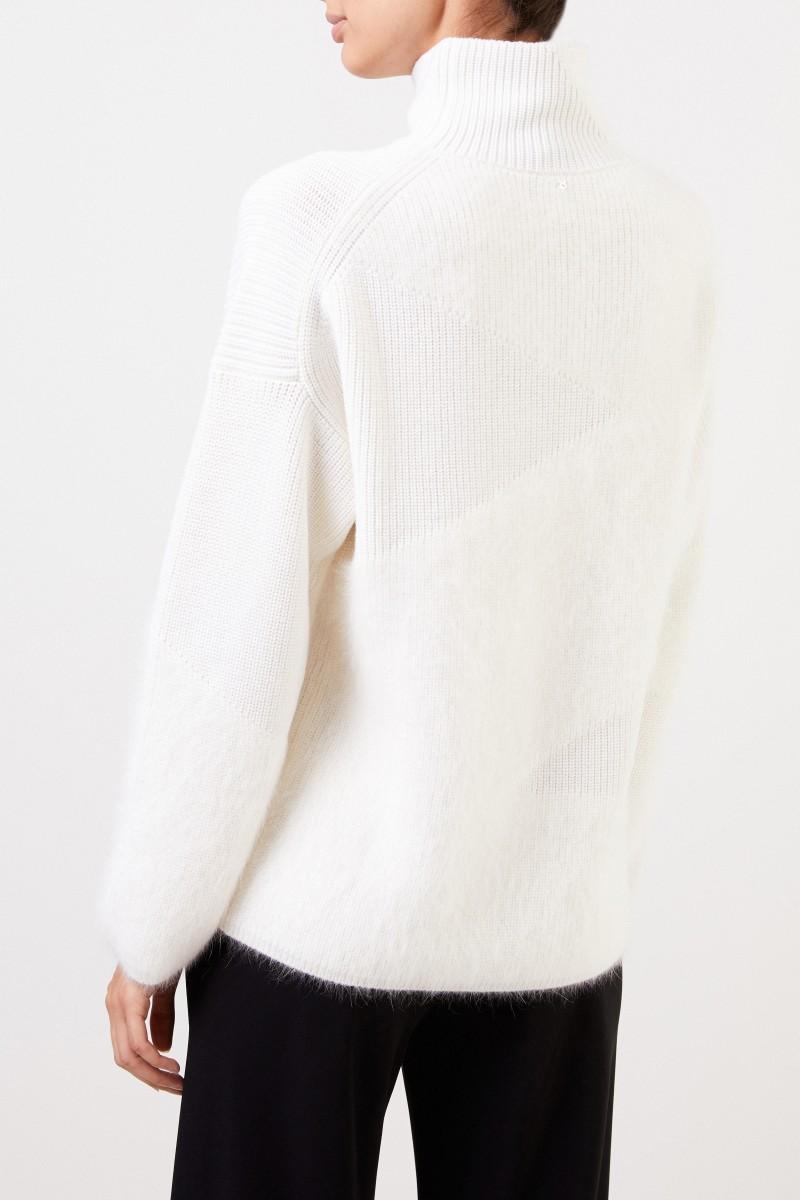 Wollpullover mit Stehkragen Crème