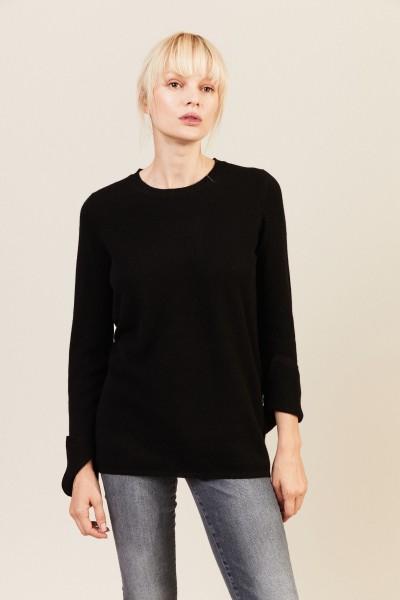 Cashmere-Woll-Pullover in Schwarz