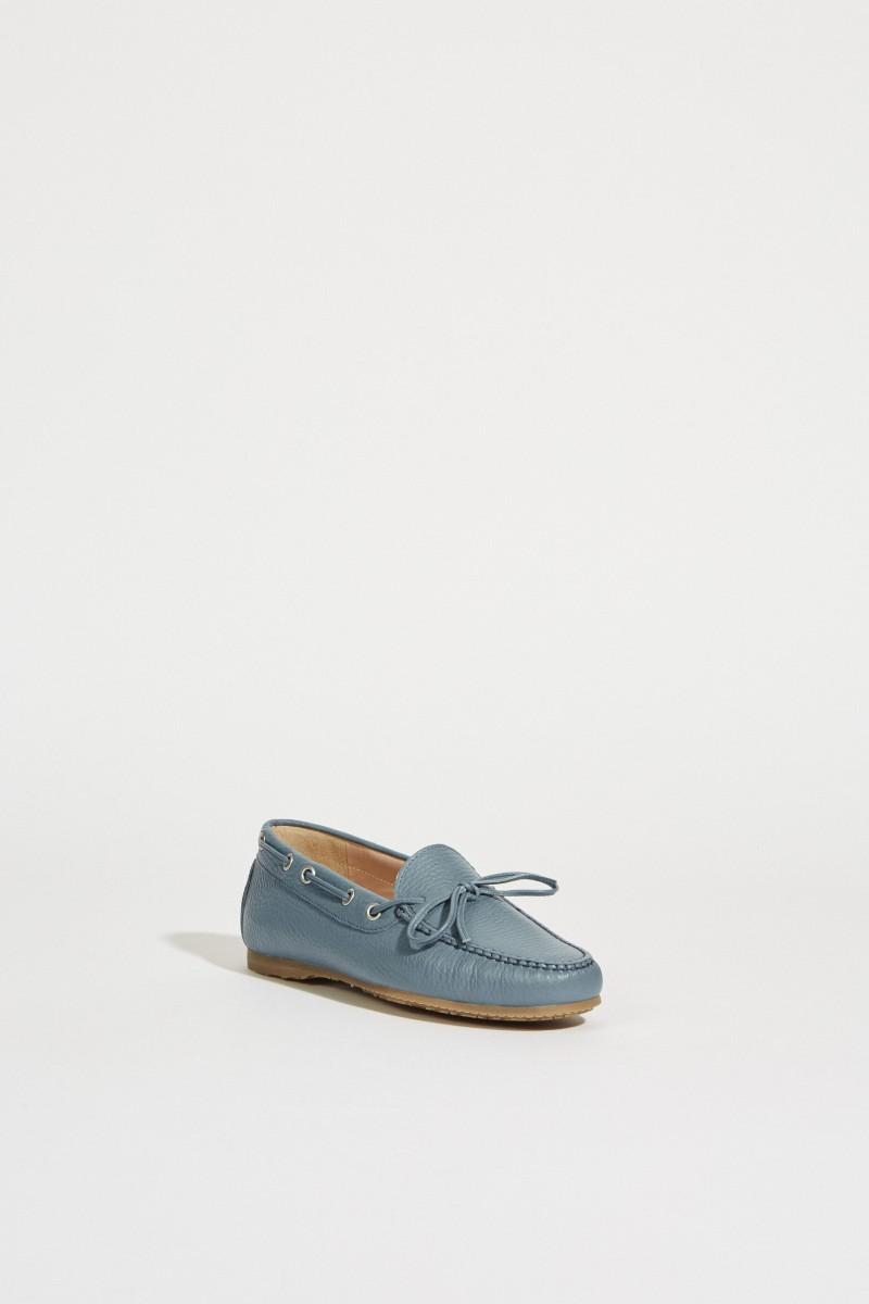 Leder-Schuh mit Schleife Blau