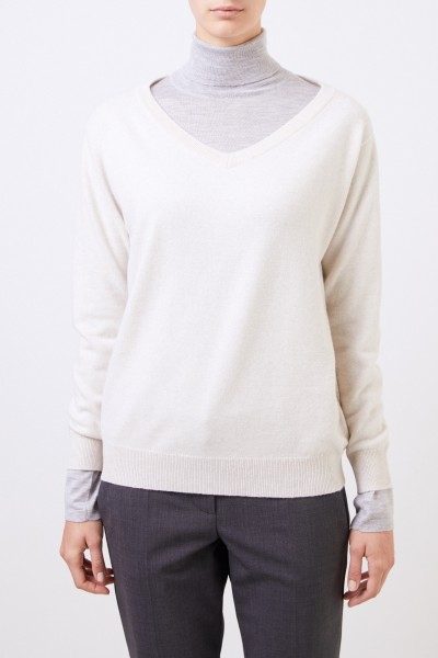 Brunello Cucinelli Cashmere sweater with pearl detail Beige
