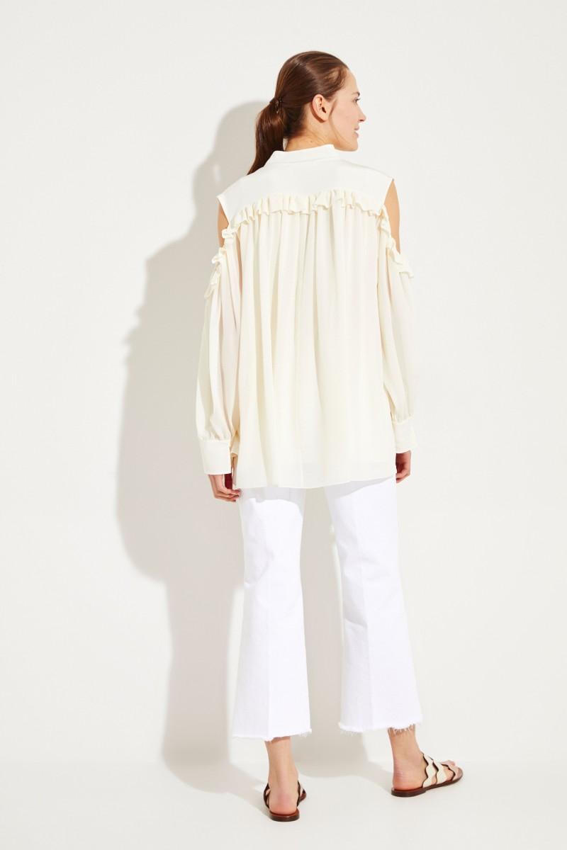 Seiden-Bluse mit Rüschen Dusty White