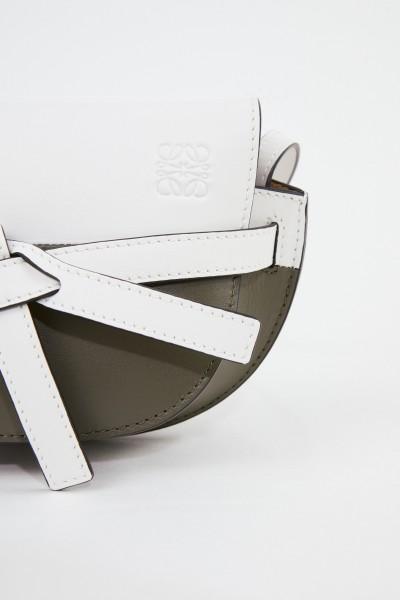 Loewe Umhängetasche 'Mini Gate' Weiß/Khaki