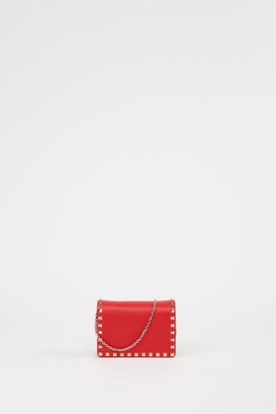 Valentino Leder-Umhängetasche mit Nieten Rot
